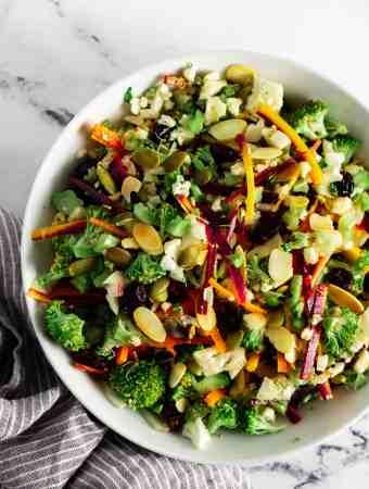 White bowl full the mediterranean detox salad
