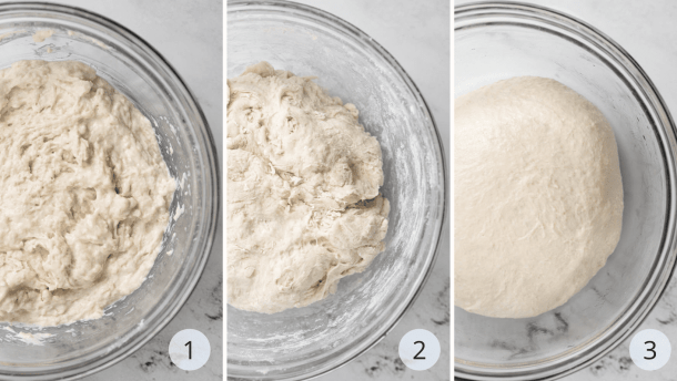 3 photos of the the stage of making the foolproof dough