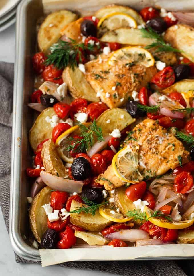 close up of the Greek sheet pan cod