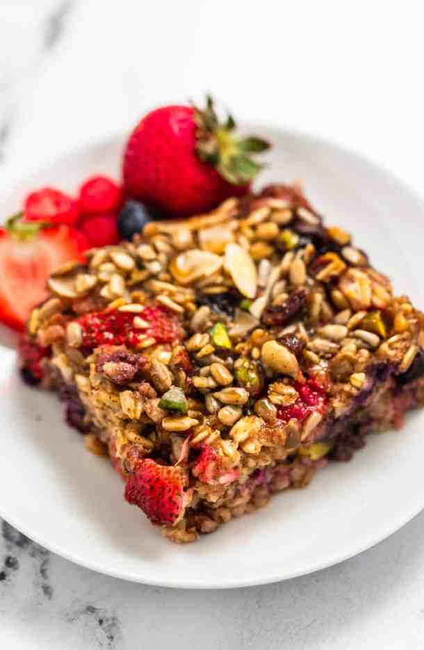 close up of the baked oatmeal with fruit