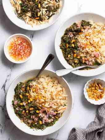 three white bowls of Lebanese spinach stew served with rice and a side of shallot & lemon topping and pine nuts.