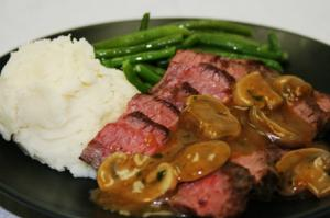 Sliced Flank Steak with Mushroom Sauce served with your choice of 2 sides
