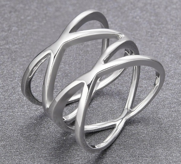 Find U Ring Unique Sterling Silver Criss Cross Promise Ring For Women image