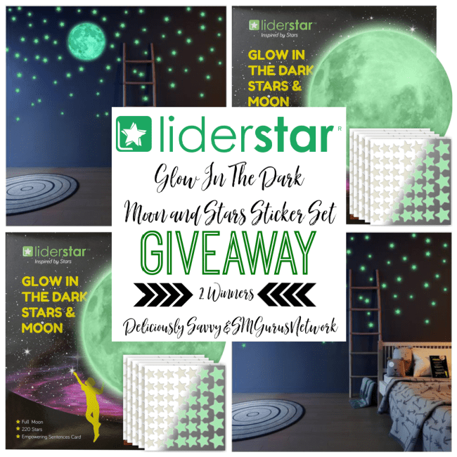 Liderstar Glow In The Dark Moon & Stars Sticker Set Giveaway