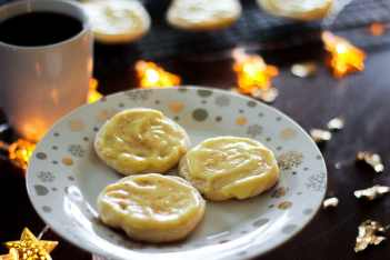 Three Eggnog Cookies in White Plate.