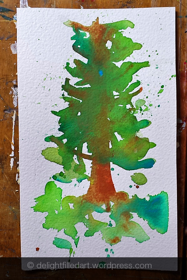 tree watercolour painting