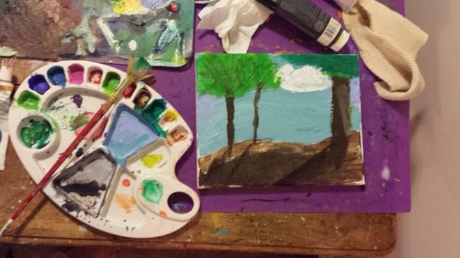 My daughter's painting, in progress.