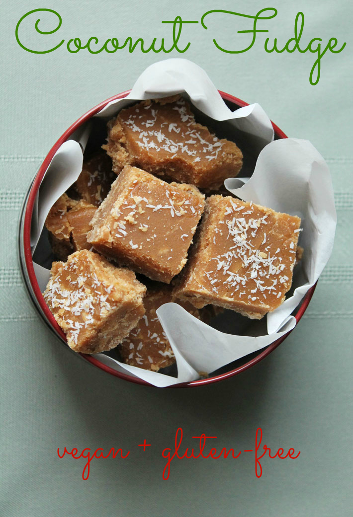 This vegan coconut fudge is not your typical fudge! It's crumbly, decadent, and melts in your mouth. It's a great food gift to give during the holidays.