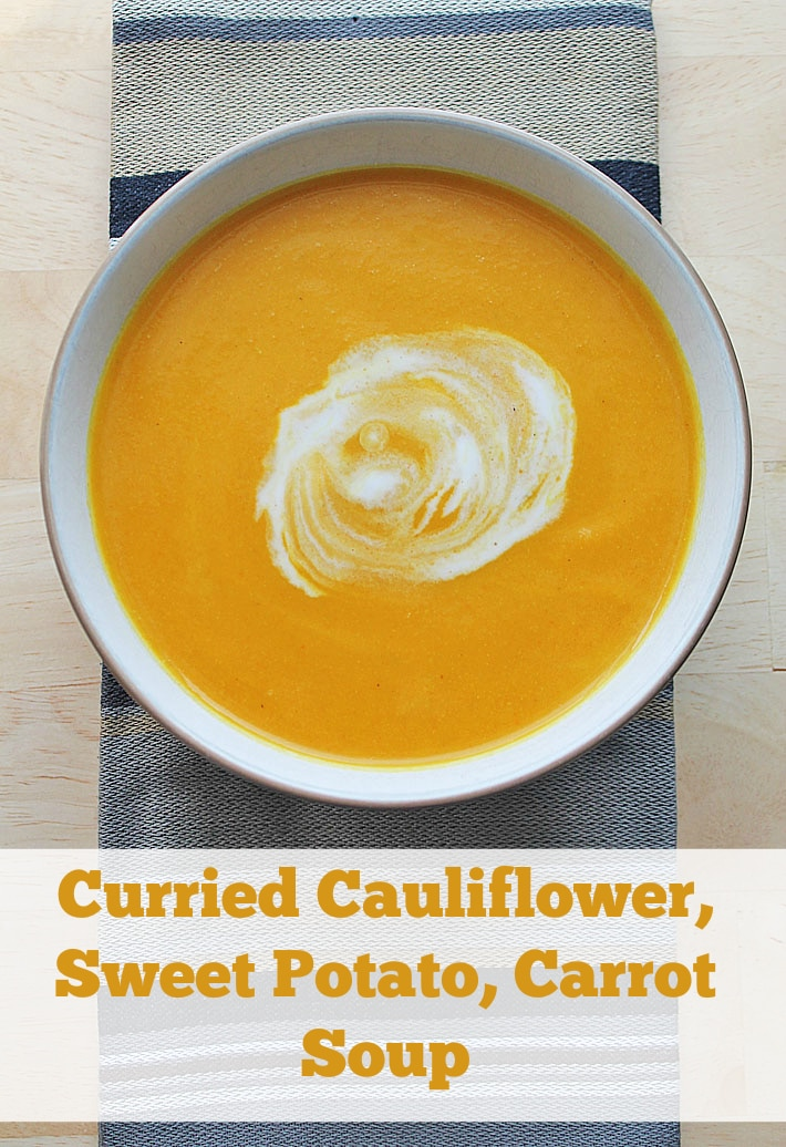 This vegan, slow cooker curried cauliflower sweet potato carrot soup is the perfect lunch or supper for cold winter days.
