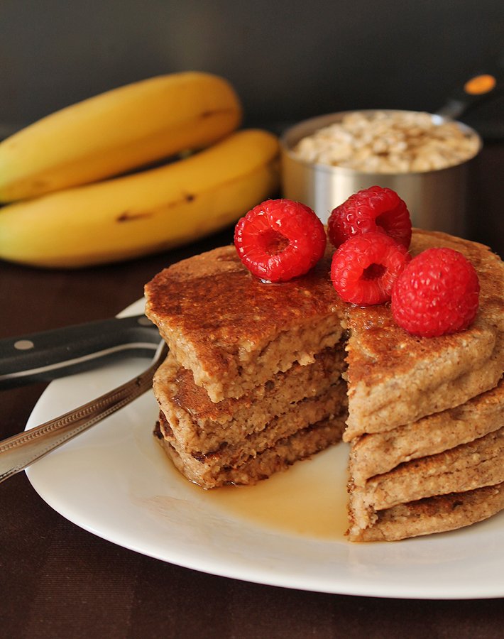 Hearty, dense, and delicious, these Banana Oat Pancakes will be a new welcome addition to your breakfast table.