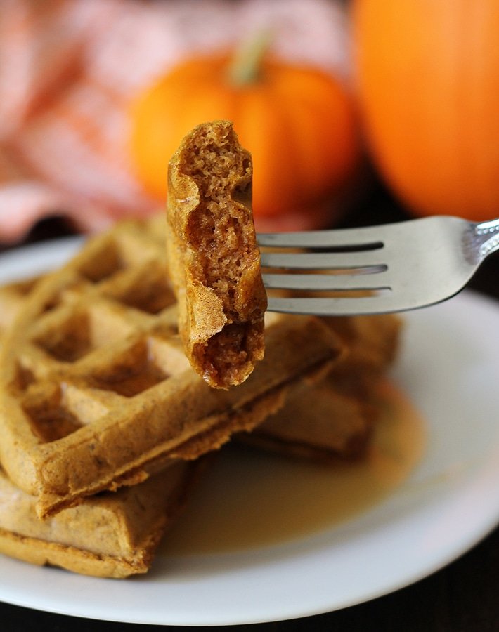 Switch things up a bit by making a batch of these spicy, sweet, Vegan Gluten Free Pumpkin Spice Waffles