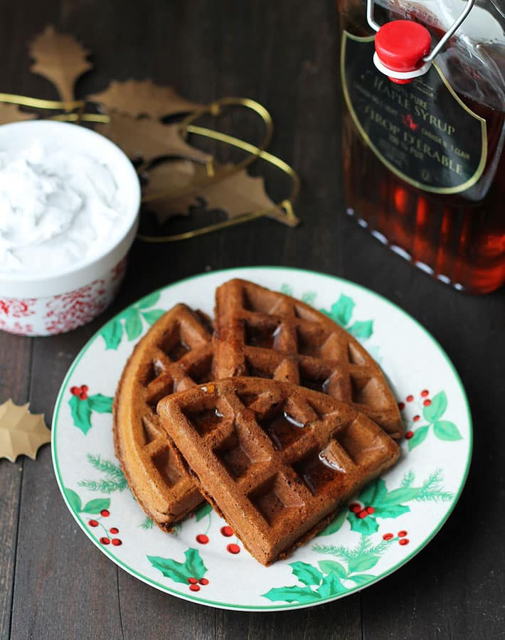 Vegan Gluten Free Gingerbread Waffles are a great breakfast or brunch idea for the holidays.