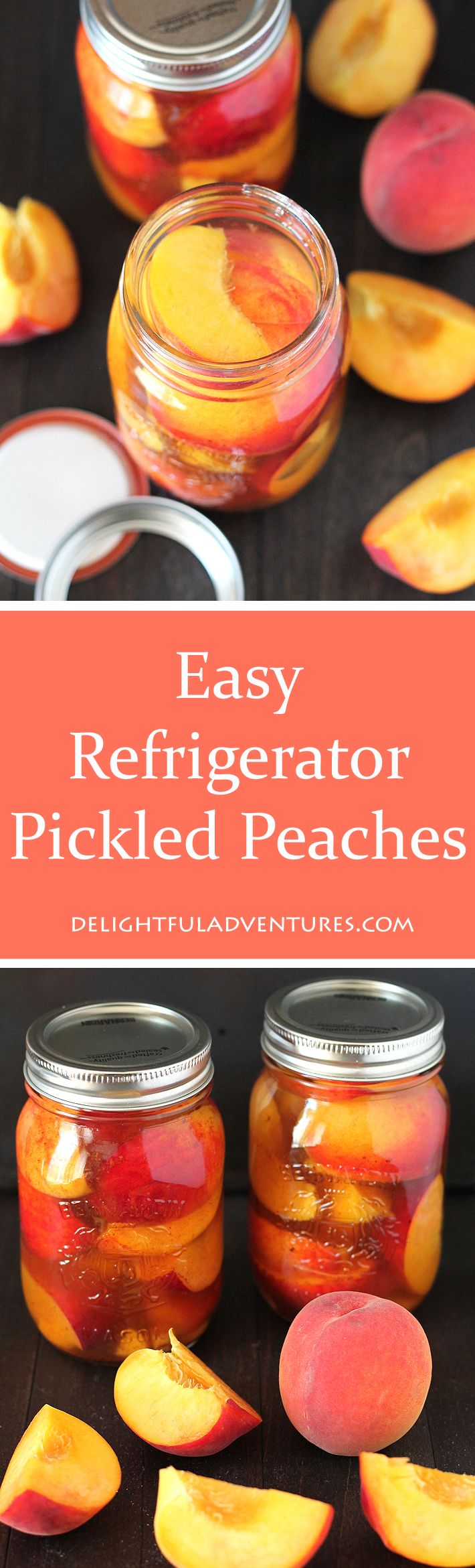 Prolong summer peach season by making this recipe for Easy Refrigerator Pickled Peaches. They're tangy, sweet, spicy, and delicious!