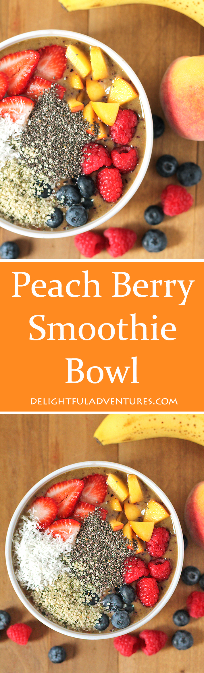 Loaded with delicious berries, and a sweet ripe peaches, this Peach Berry Smoothie Bowl can be topped with whatever you like to suit your taste.