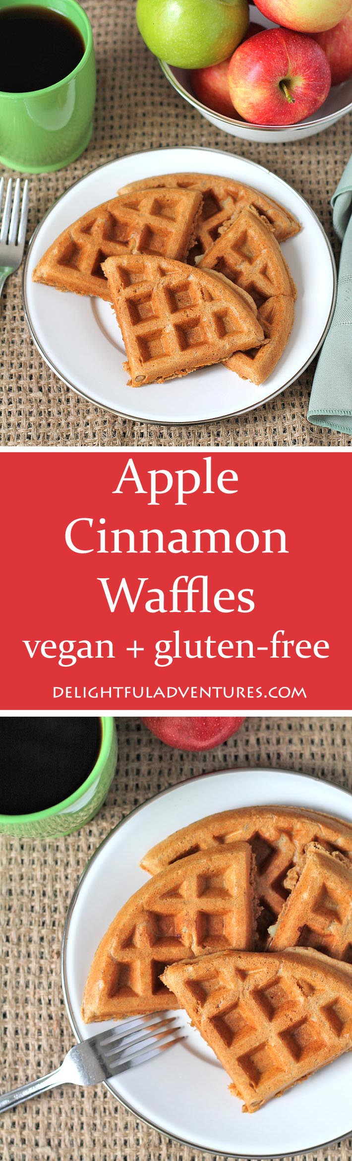 Delicious vegan gluten free apple cinnamon waffles that are sweet, perfectly spiced and perfect for fall (or any time of year!)