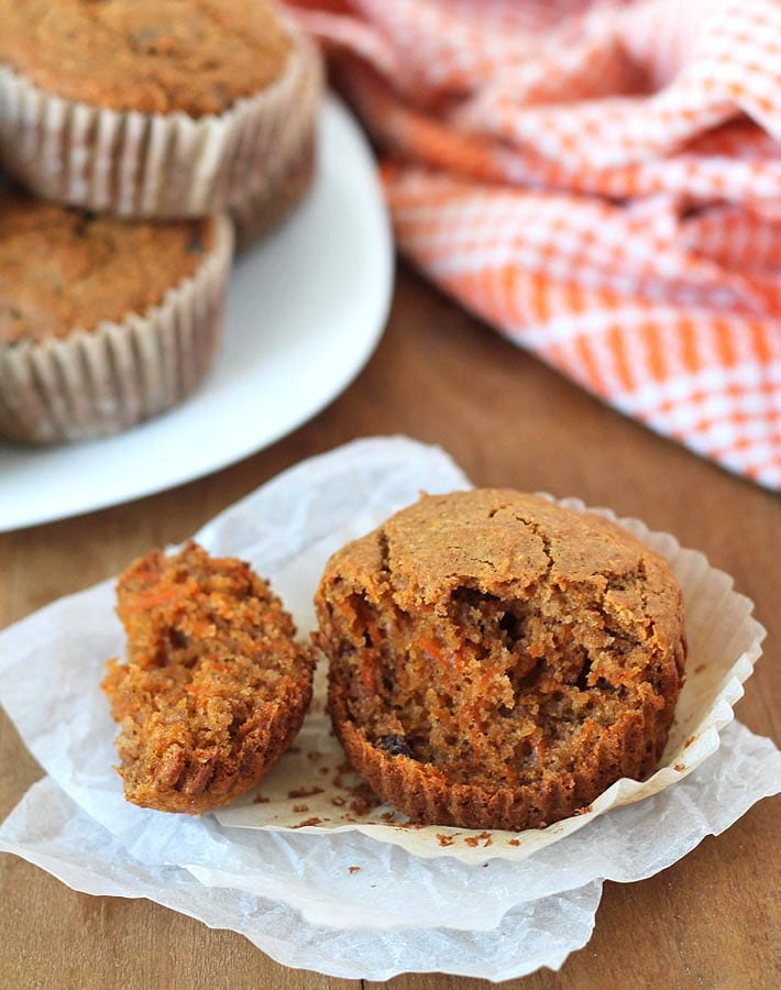 Bake up a batch of these fluffy, flavourful, vegan, gluten free carrot ginger muffins to serve at breakfast, brunch, or at snack time!