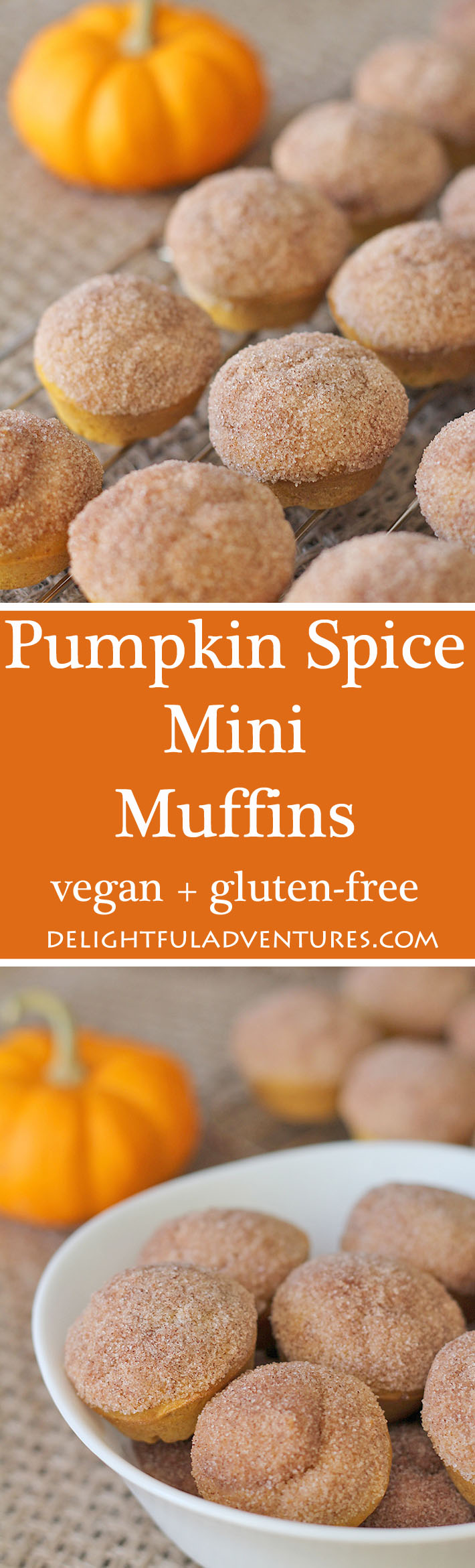 These vegan gluten free pumpkin spice mini muffins are the perfect treat for fall—or any other time of year. Enjoy them with a latte or on their own!