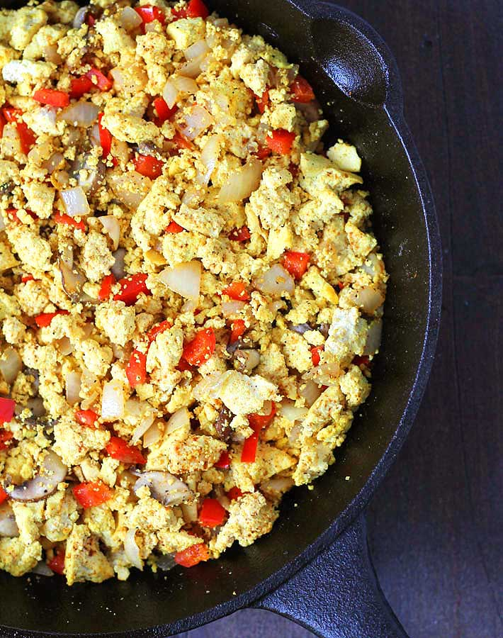 Cooked Southwest Tofu Scramble in a cast iron skillet.