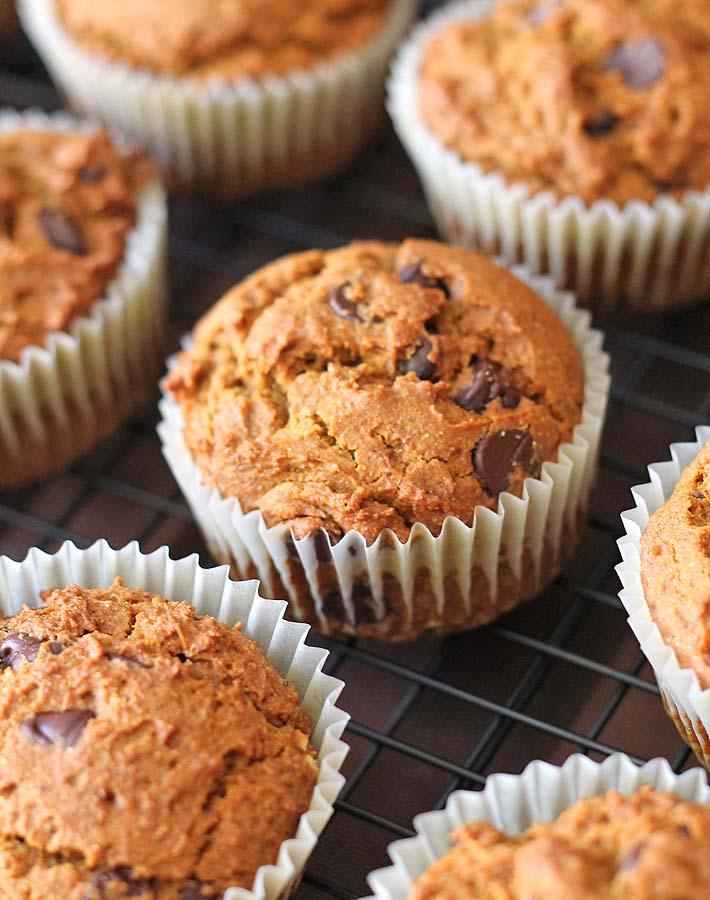 Vegan Gluten Free Pumpkin Spice Muffins on a cooling rack