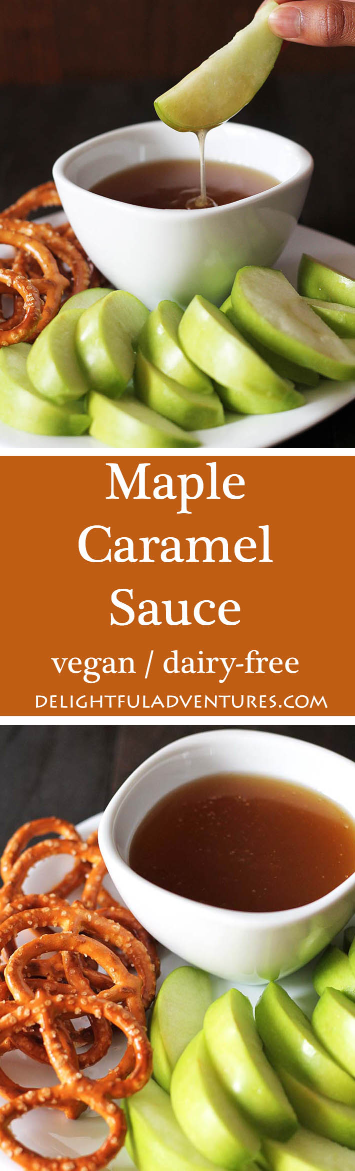 A quick, easy, and decadent maple caramel sauce that you'll want to put on everything from ice cream, sticky toffee pudding, pancakes, waffles and more! #vegancaramelsauce #dairyfreecaramelsauce #maplecaramelsauce #vegancaramel #veganglutenfree