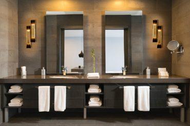 mid century bathroom setting