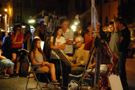 Visit Rome_night_Piazza Navona_Painters 1_01