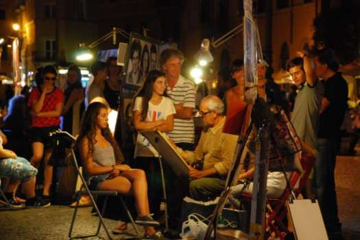 Night walk in Rome - Piazza Navona_Painters 1_01