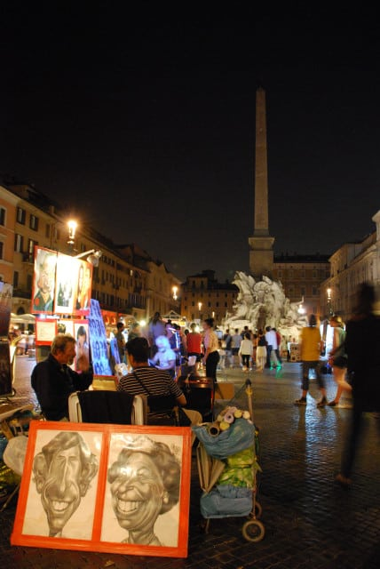 Night walk in Rome - Piazza Navona_Painters 2_01