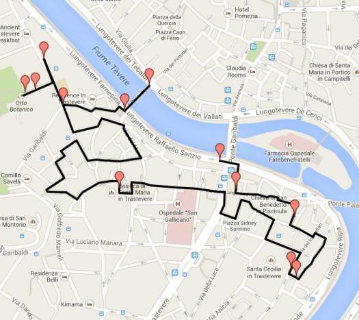 Trastevere walking tour-Walk in Trastevere Map