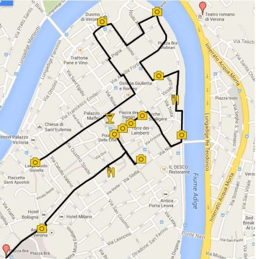 Verona in one day - Verona walking Itinerary map