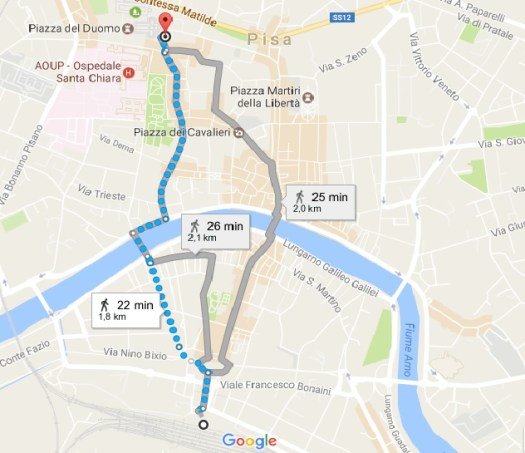Florence to Pisa by train - From Pisa station to leaning tower Map