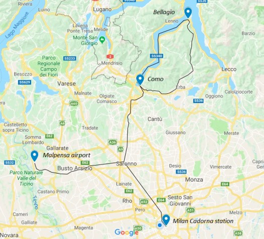 From Milan to Bellagio - travel map