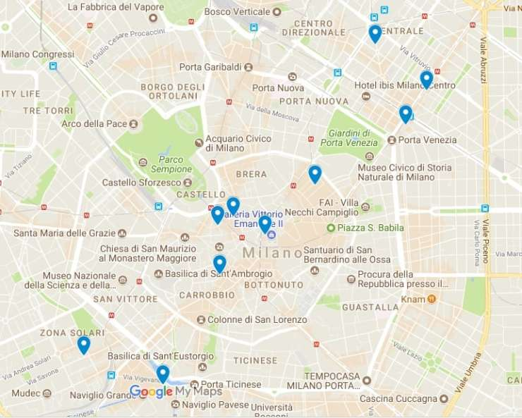 Best 3 and 4 stra hotels in Milan - Interactive map