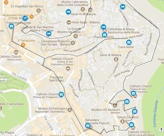 What to do in Matera: walking tour map