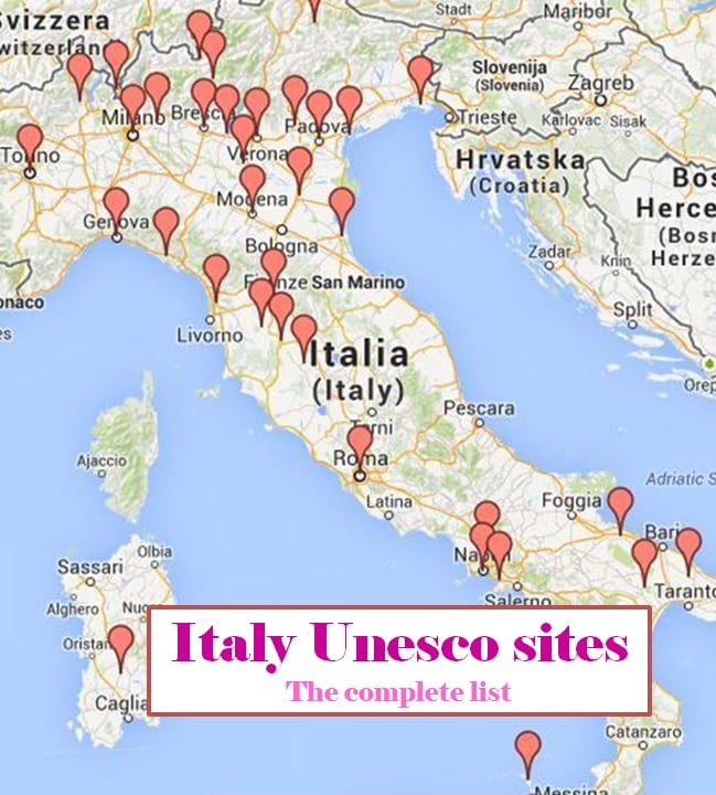 Italy Unesco sites map
