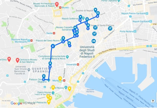 Naples in one day walking itinerary - Spaccanapoli - Naples walking tour map