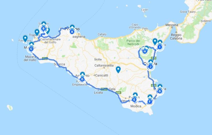 Seven days Sicily itinerray map