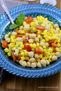 chickpea salad with tomatoes and dressing