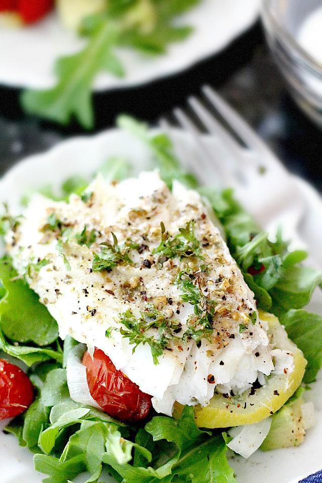 baked cod fish salad