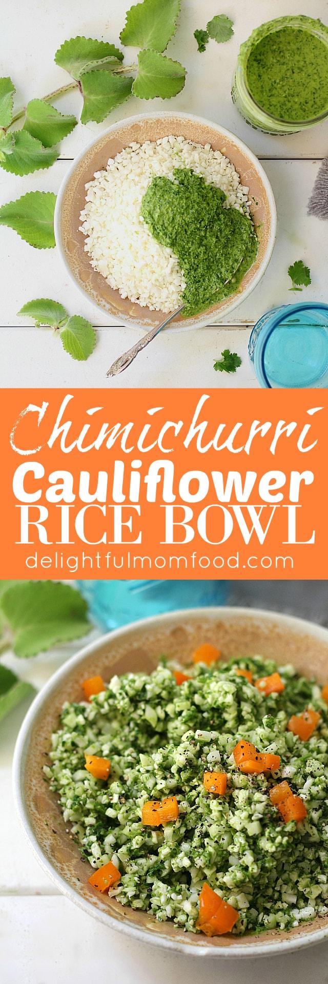 chimichurri cauliflower rice bowl