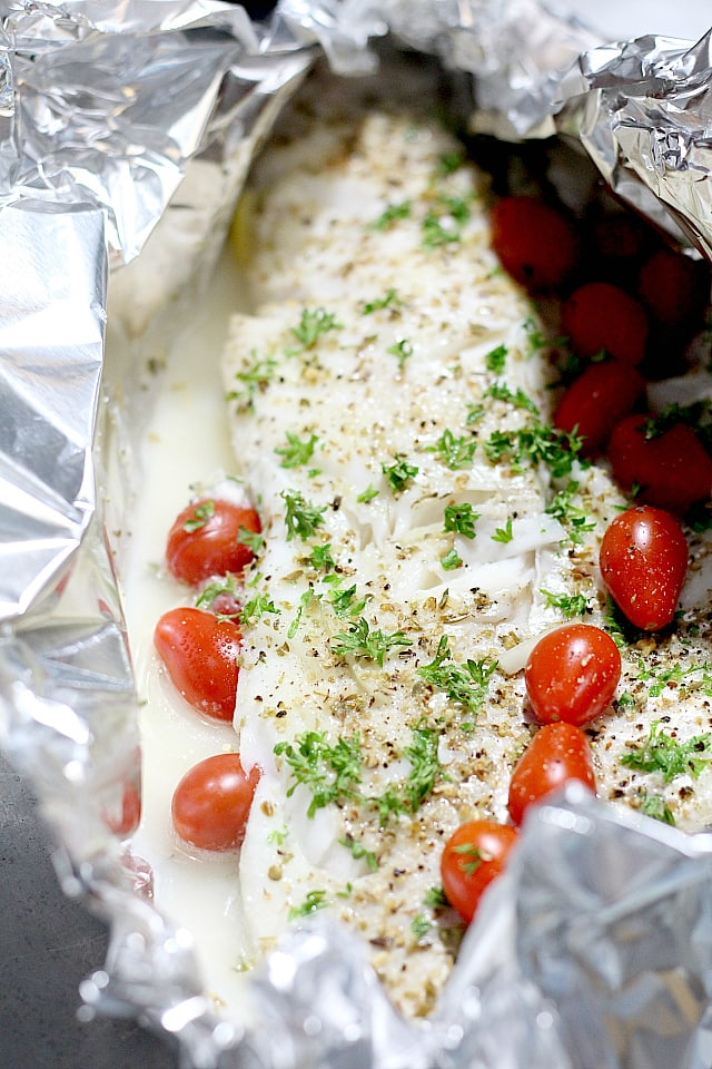 cod fish with tomatoes