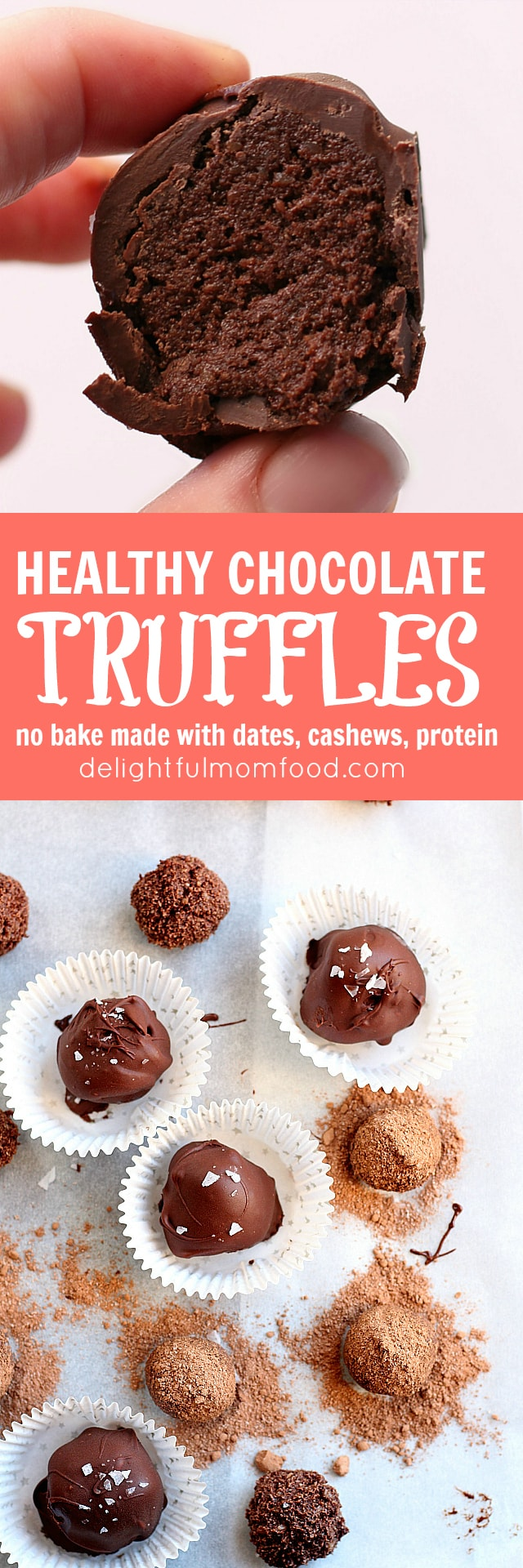 Guilt free Chocolate truffles made with dates, cashews, protein powder and coconut flour