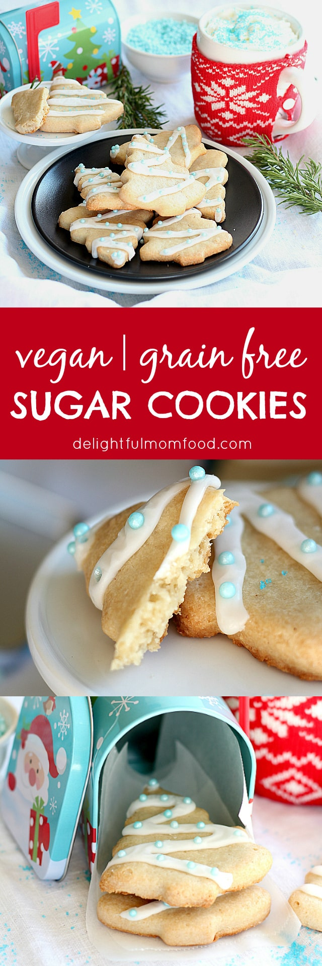 Healthy + light in sugar + grain free vegan sugar cookies... Yes please! A healthy Christmas cookie recipe for this holiday season or any day of the year!