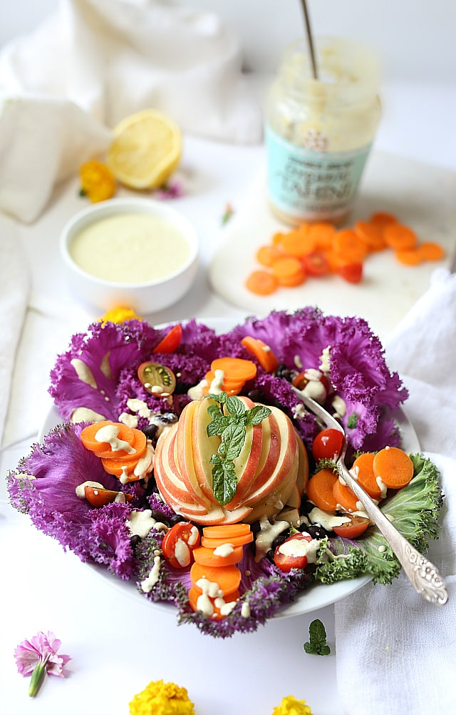 Savoy cabbage salad with tahini dressing | vegan | Delightful Mom Food