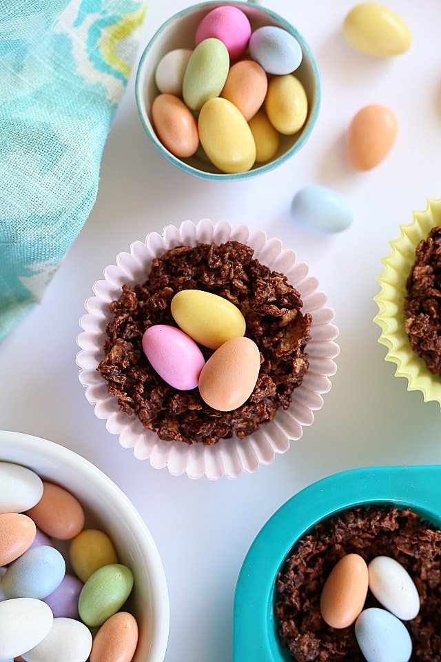 Chocolate Nests For Easter Made Out Of Gluten Free Corn Flakes Cereal