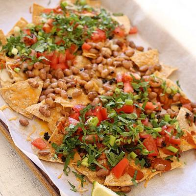 Simple Sheet Pan Family Style Enchilada Nachos