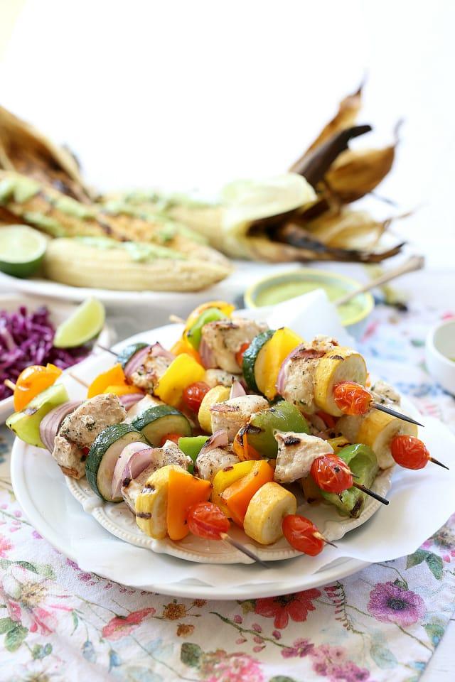 Fish Kabobs with Vegetable skewers
