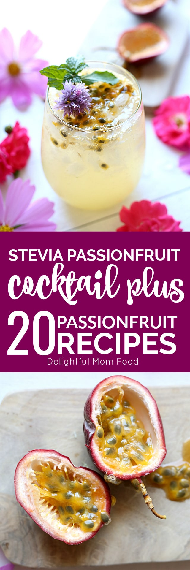 Celebrate with a lovey low-sugar passion fruit cocktail! This sparkling tropical drink is lightly sweetened with Stevia and perfect with either vodka or tequila (or skip the booze all together)!