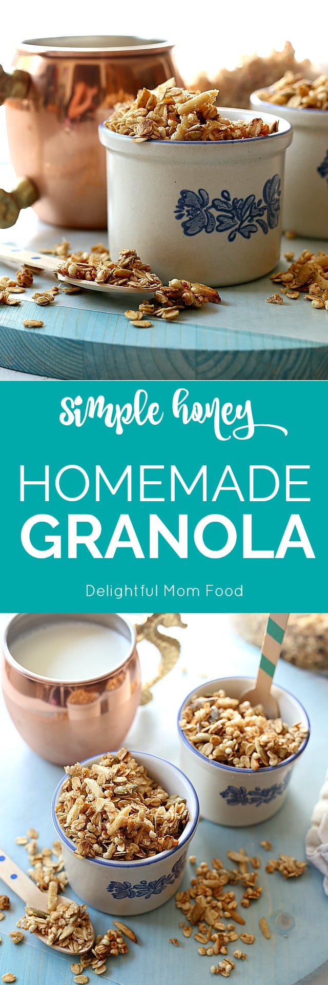 Gluten-Free Homemade honey granola recipe is a great way to start the day! This toasted oats recipe makes a big batch so you can use half of it to turn into no bake granola bars for snack time or breakfast the next day! | Delightful Mom Food