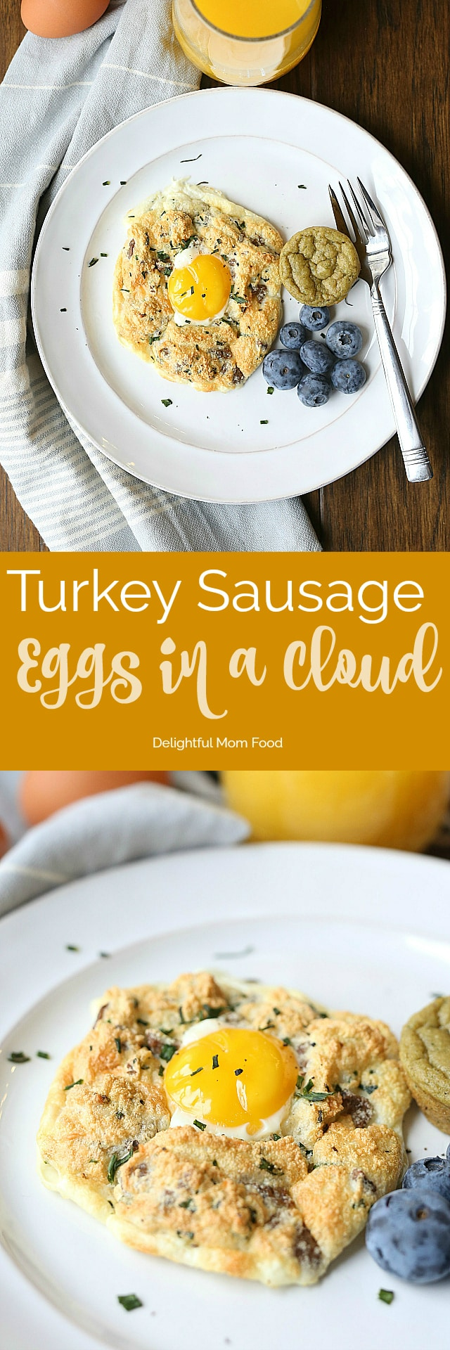 Soft and fluffy cloud eggs tossed with turkey sausage, chives and Parmesan cheese. The perfect delicate and simple breakfast or brunch to revamp a typical egg dish!